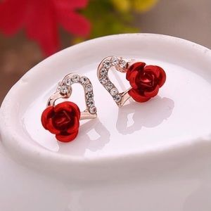 Hollow Heart and 3D Rose Earrings